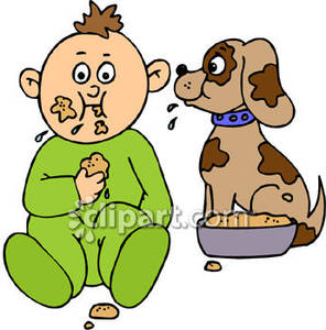 Toddler Eating Dog Food With A Puppy Royalty Free Clipart Picture