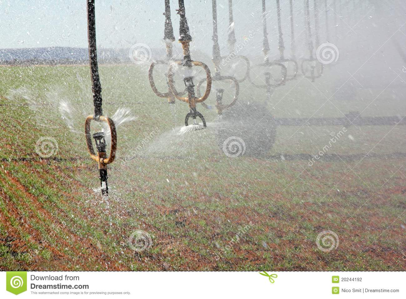 Water Sprinklers Of A Center Pivot Crop Irrigation System
