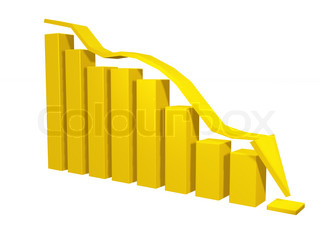 3d Bar Chart Graph With Arrows Moving Down On White Bachgroung Stock