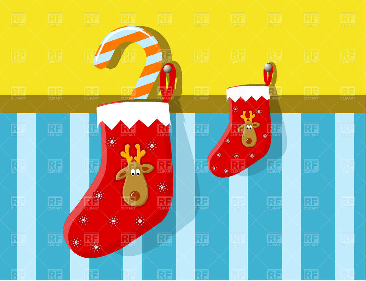 Christmas Festive Stocking With Reindeer And Candy Cane 1818 Holiday