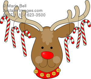 Christmas Reindeer With Candy Cane Ornaments Hanging From Its