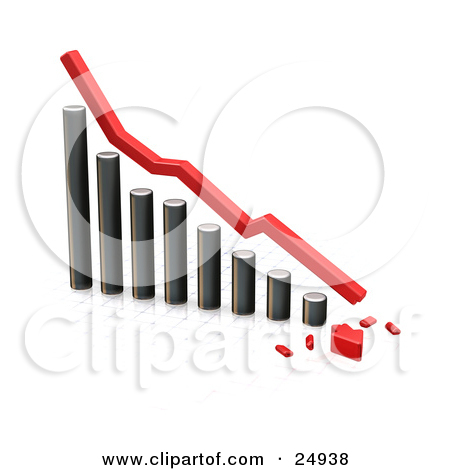 Clipart Illustration Of A Decreasing Chrome Bar Graph With A Red Line