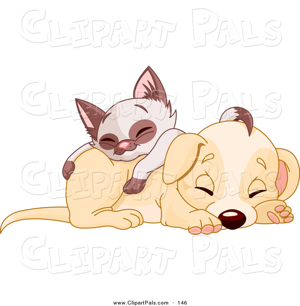 Clipart Of A Cute Siamese Kitten Napping On Top Of A Cute Puppy Dog By