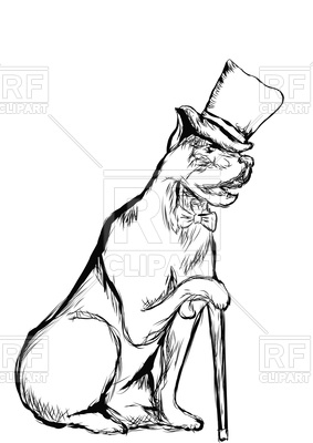 Gentleman Dog With Top Hat And Walking Stick 96209 Download Royalty