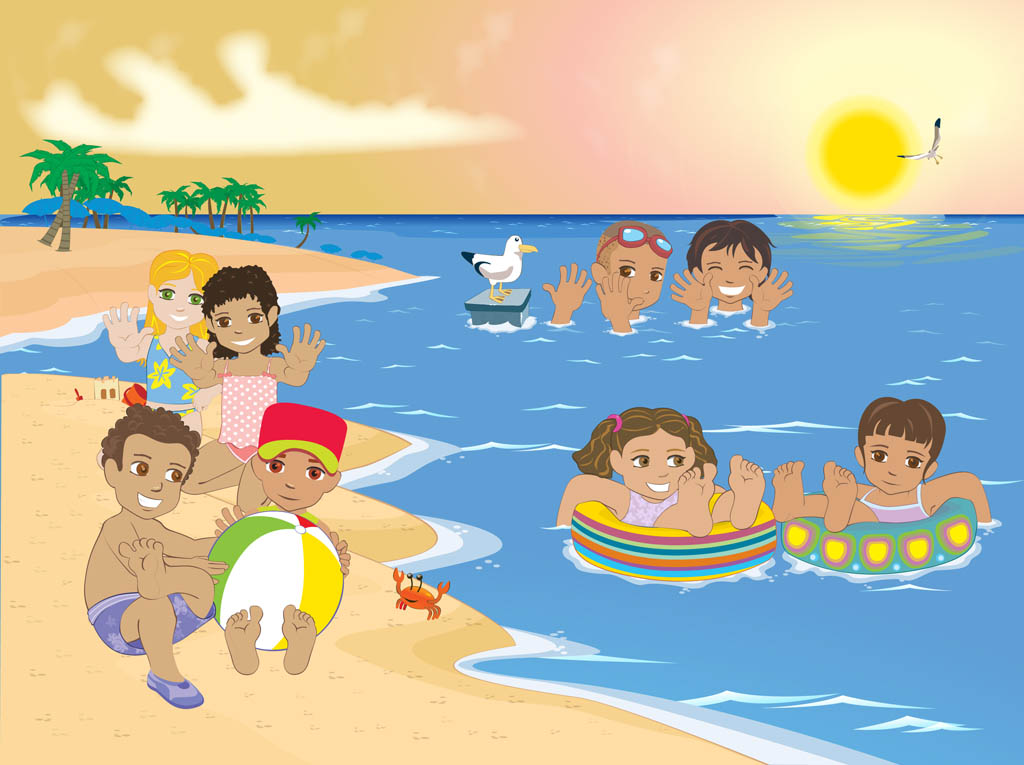 Playing At The Beach Clipart - Clipart Kid