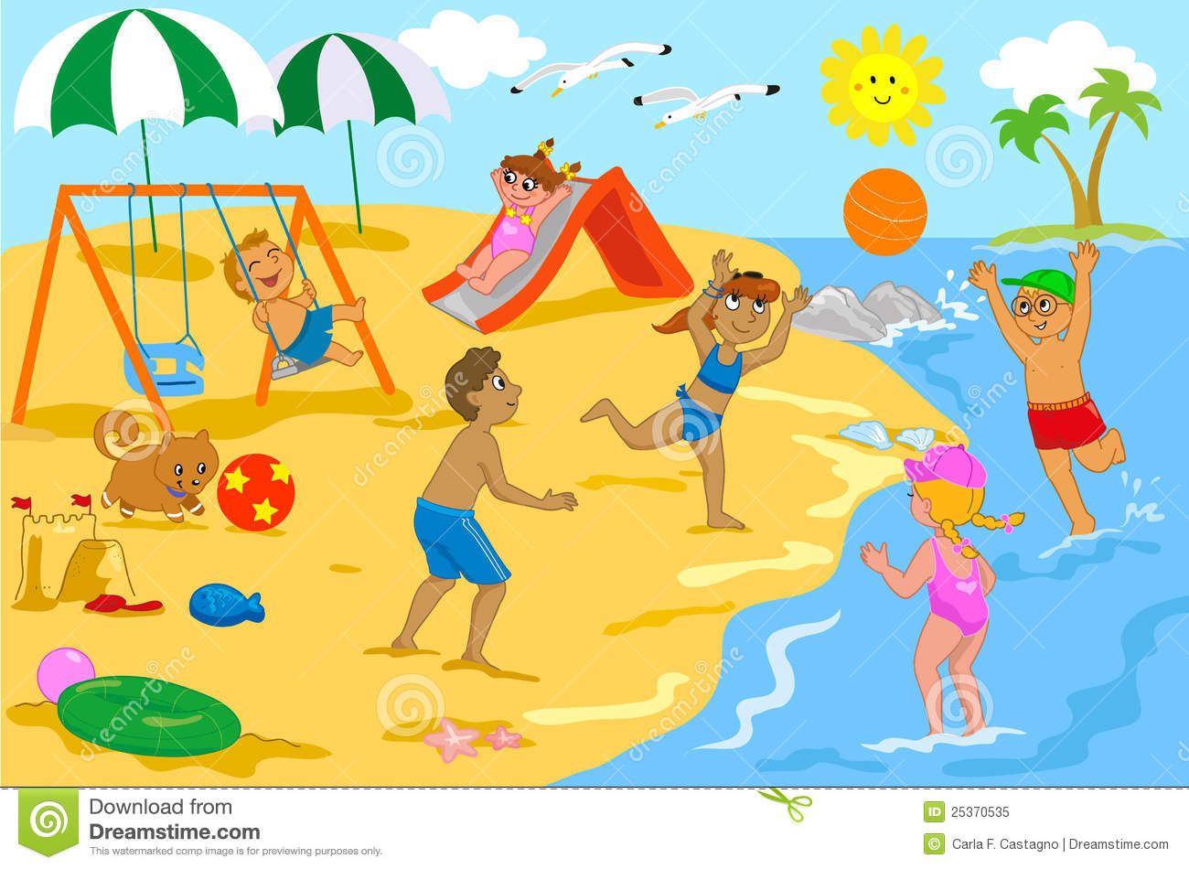 Beach Clipart kids playing on playground clipart children playing at ...