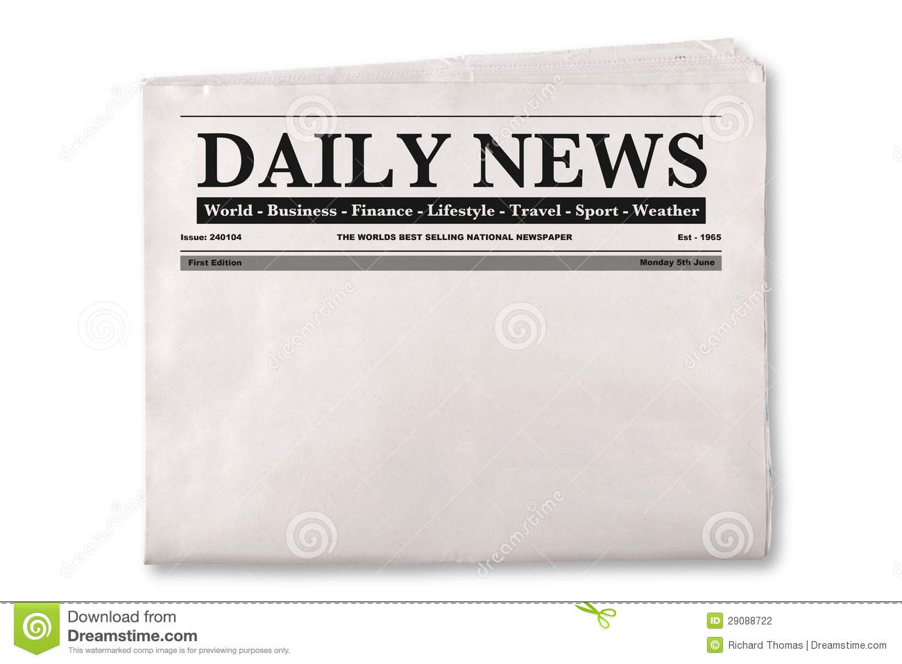 Mock Up Of A Blank Daily Newspaper With Empty Space To Add Your Own