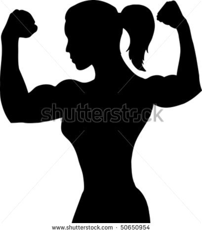 Outline Of A Female Bodybuilder   Stock Vector