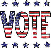 Patriotic Vote Sketch   Royalty Free Clip Art