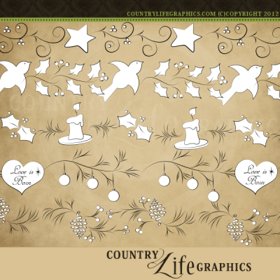 Primitive   Country Clipart   Love Is Born Border Stamps At Country
