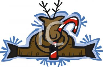 Reindeer Holding A Candy Cane   Royalty Free Clipart Picture