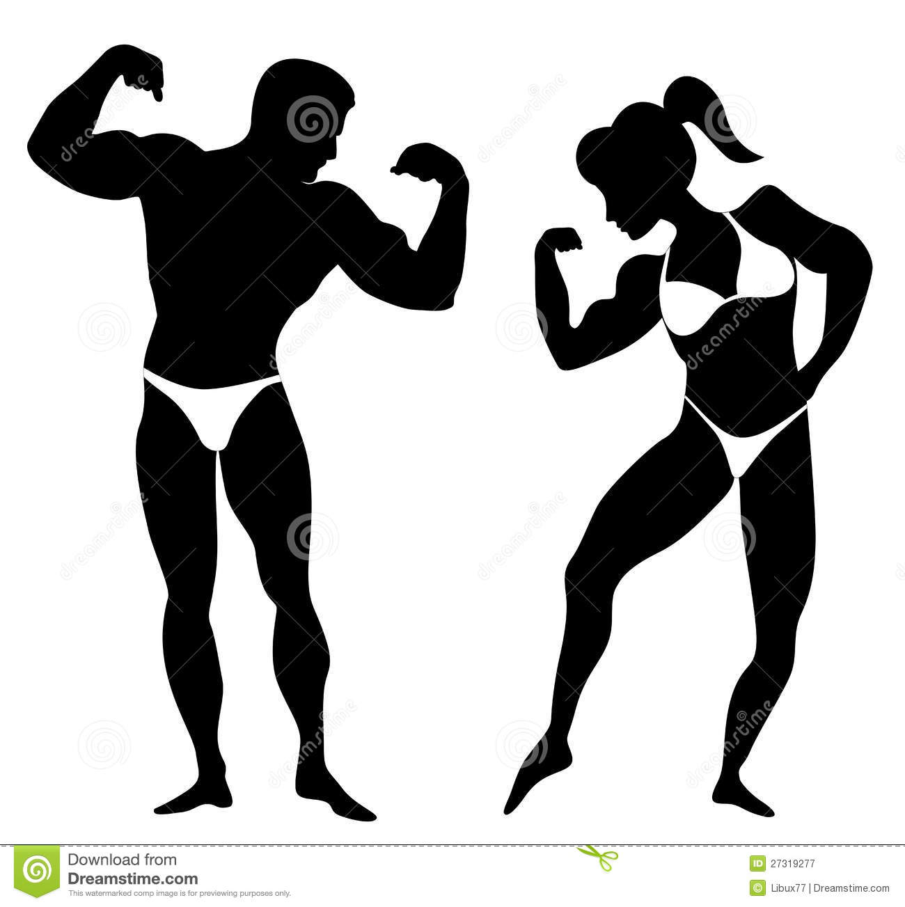 Silhouette Of A Man And A Woman Body Builders Showing Their Muscles