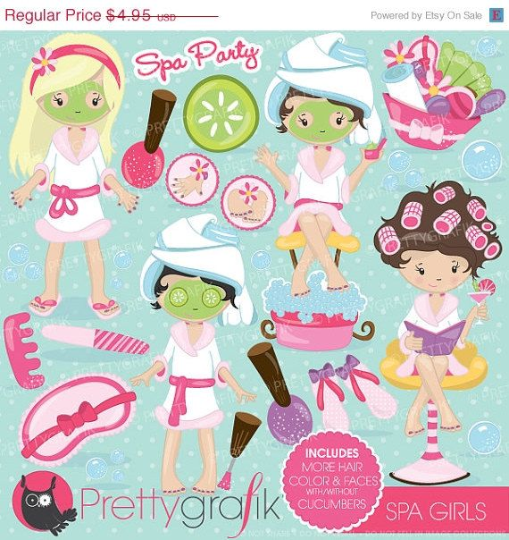 Spa Girls Party Clipart  Party Clipart Slumber Party Girls Party