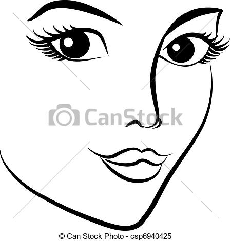 Vector   Beautiful Fashion Woman S Face   Stock Illustration Royalty