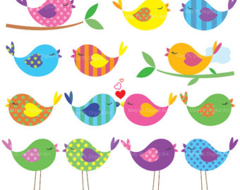 15 Bird Clip Art Animal Clipart Dig Ital Cute Love Bold Colors Baby