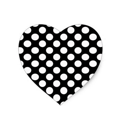 Black and white polka dot pattern spotty heart sticker zazzle