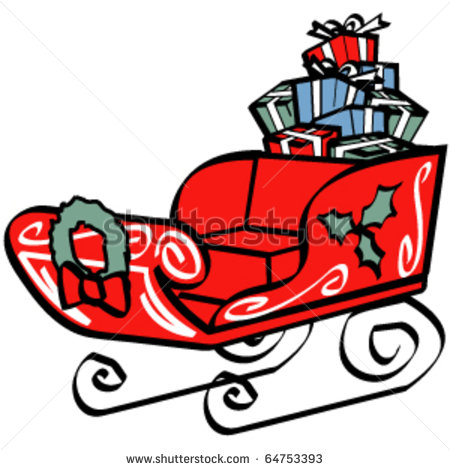 Christmas Sled Or Santa S Sleigh Filled With Presents Or Gifts And