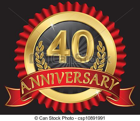 Eps Vectors Of 40 Years Anniversary Golden Label With Ribbons Vector