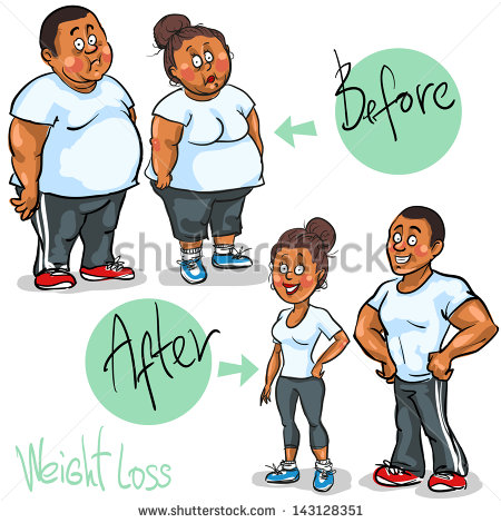 Weight Loss Program And Training  Hand Drawn Funny Cartoon Characters