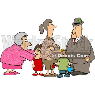And Grandpa Standing With Grandchildren And Pregnant Daughter Clipart
