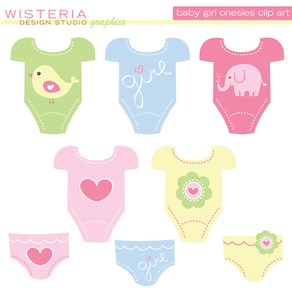 Baby Girl Onesies Instant Download Clip By Wisteriadesignstudio