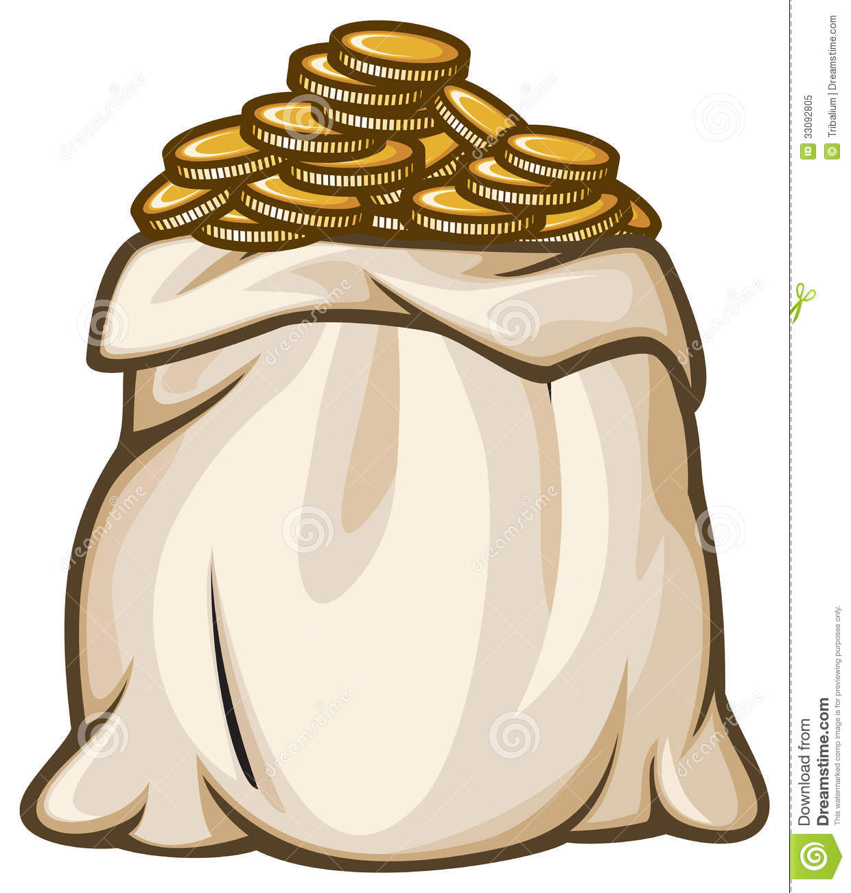 Bag Of Gold Coins Bag With Gold Coins Vector