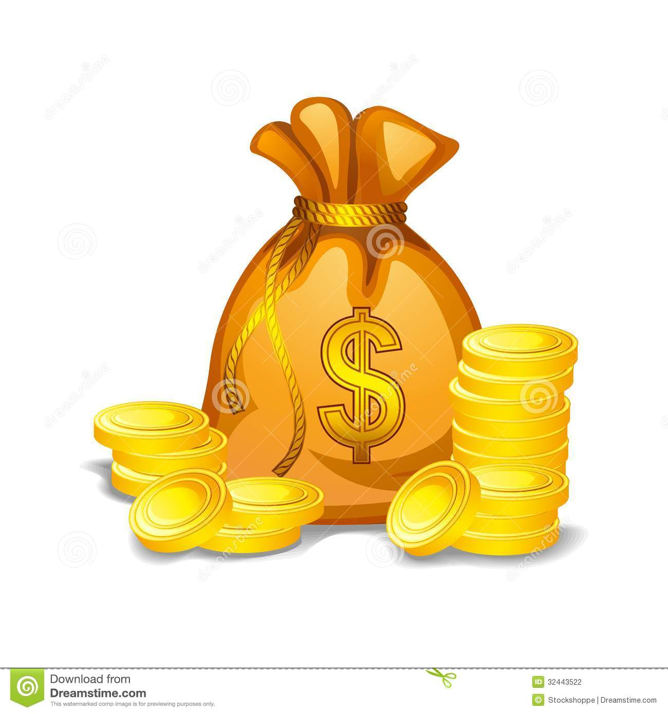 Bag Of Gold Coins Clipart