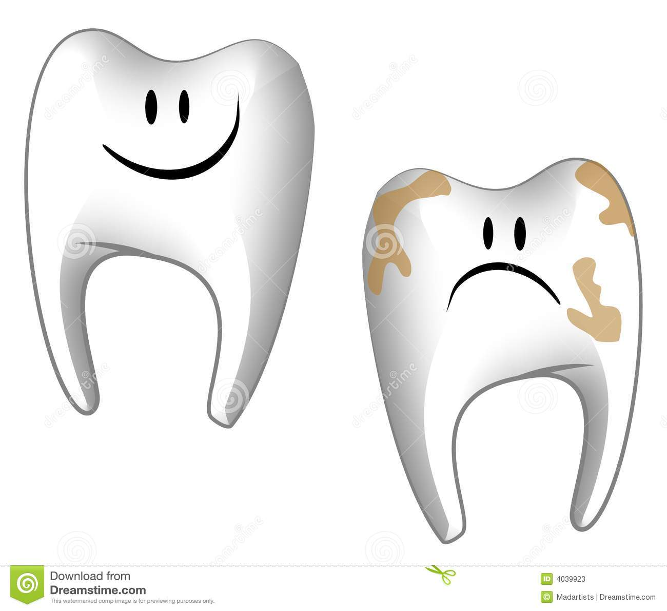 Clip Art Illustration Featuring Your Choice Of 2 Cartoonish Teeth