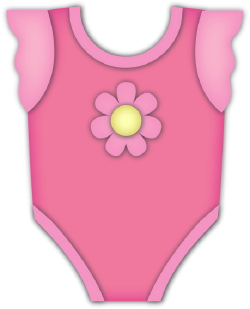 Clip Art Of A Frilly Pink Onesie For A Baby Girl With A Flower On The