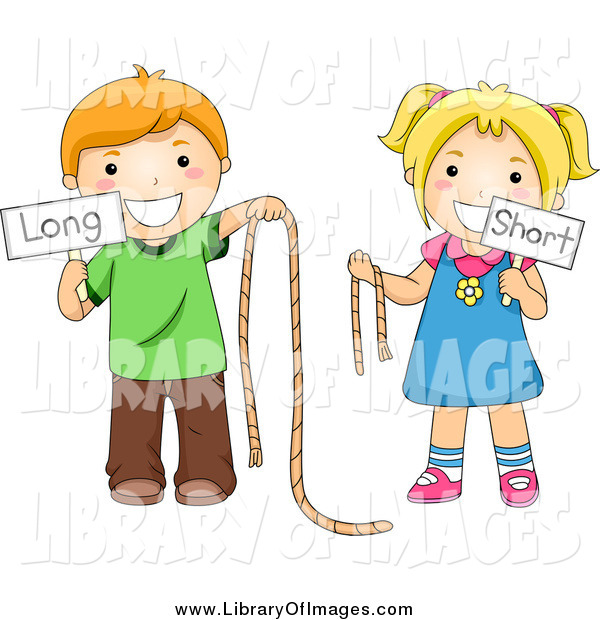 Clip Art Of Caucasian School Kids Holding Long And Short Ropes And