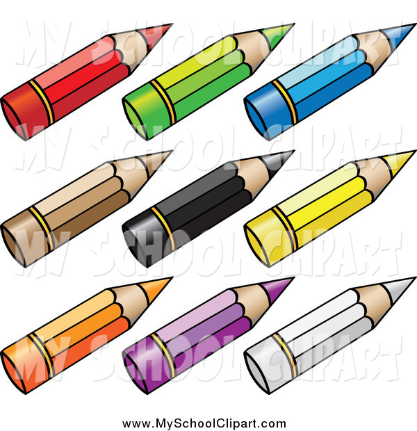 Clip Art Of Short Stubby Colored Pencils By Cidepix    1009