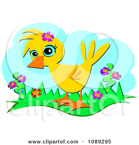 Clipart Duck With Spring Flowers   Royalty Free Vector Illustration By
