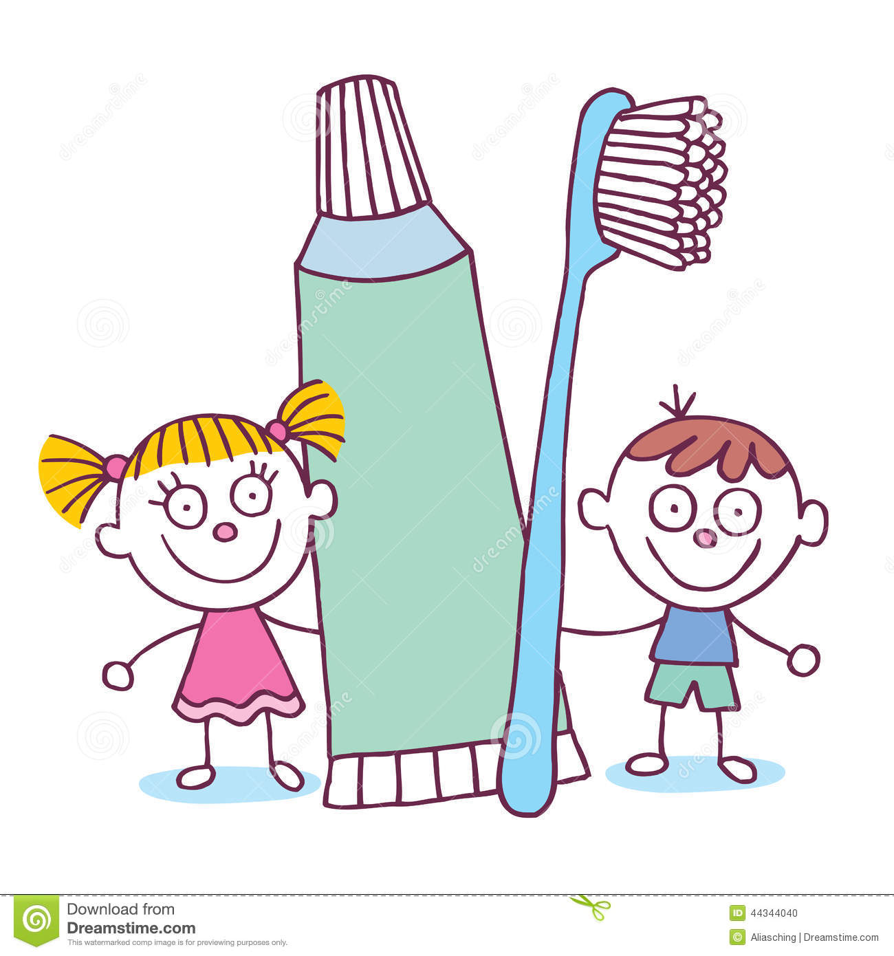 Dental Hygiene Kids With Toothbrush And Toothpaste Stock Vector