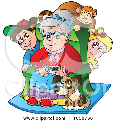 Free  Rf  Clip Art Illustration Of A Cat Dog And Grandchildren