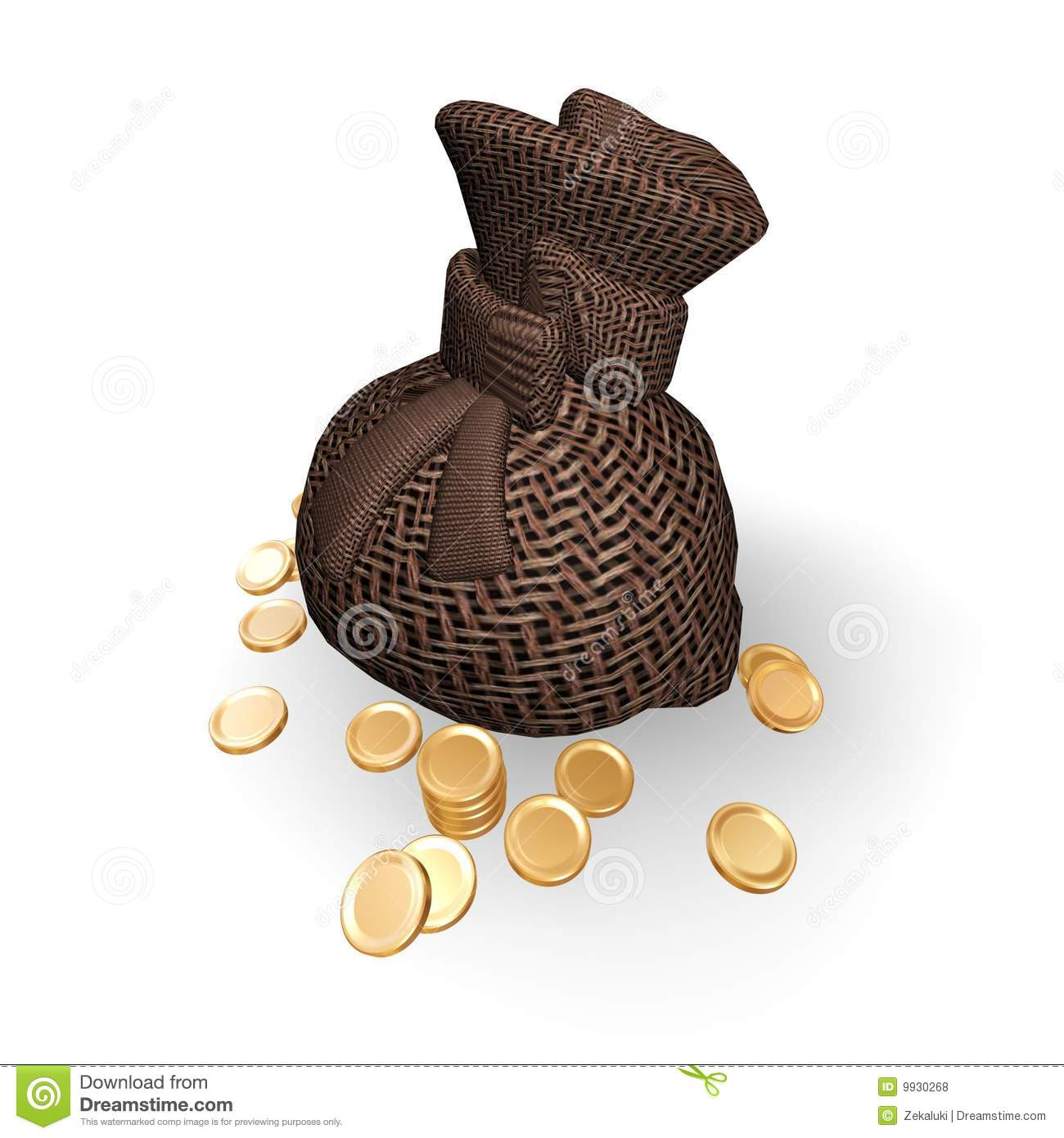 Full Bag Of Gold Coins  Royalty Free Stock Photos   Image  9930268