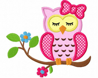 Instant Download Sleeping Girl Owl On Branch Applique Machine