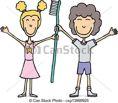 Kids With Huge Tooth Brush Dental Hygiene Csp13999925   Search Clipart