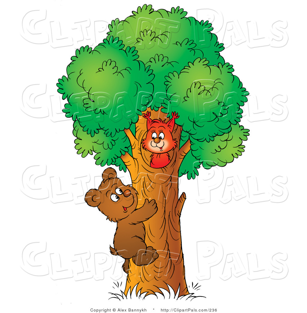 Larger Preview  Pal Clipart Of A Cute Brown Bear Cub Climbing A Tree