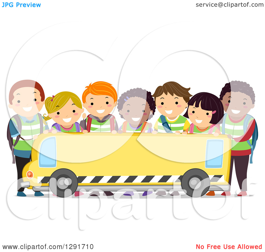 Of A Group Of Happy Diverse School Children Over A Blank School Bus