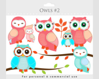 Owls Clipart   Whimsical Owls Baby Owls Birdies Branch Tree Branch