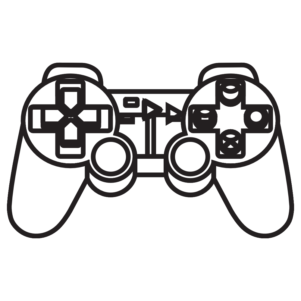 Playstation Ps 3 Console Controller 2 Black White Line Art Coloring