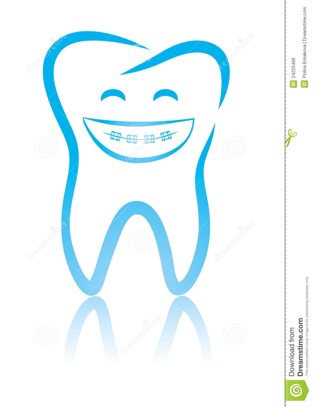 Smiling Dental Tooth With Braces Royalty Free Stock Image   Image