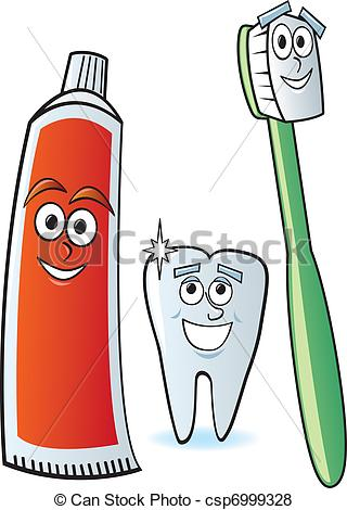 Vector Of Dental Cartoon Characters   A Cartoon Toothbrush Toothpaste