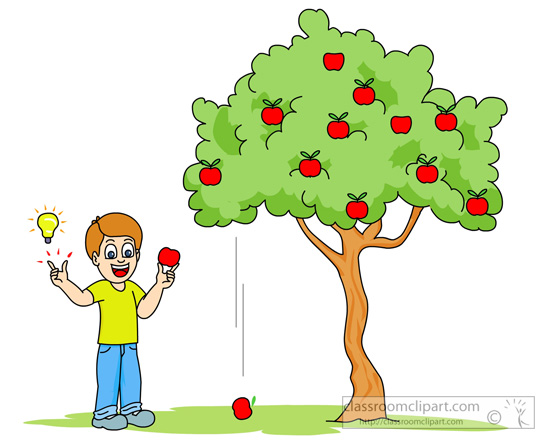 Apple Falling From Tree To Illustrate Gravity   Classroom Clipart