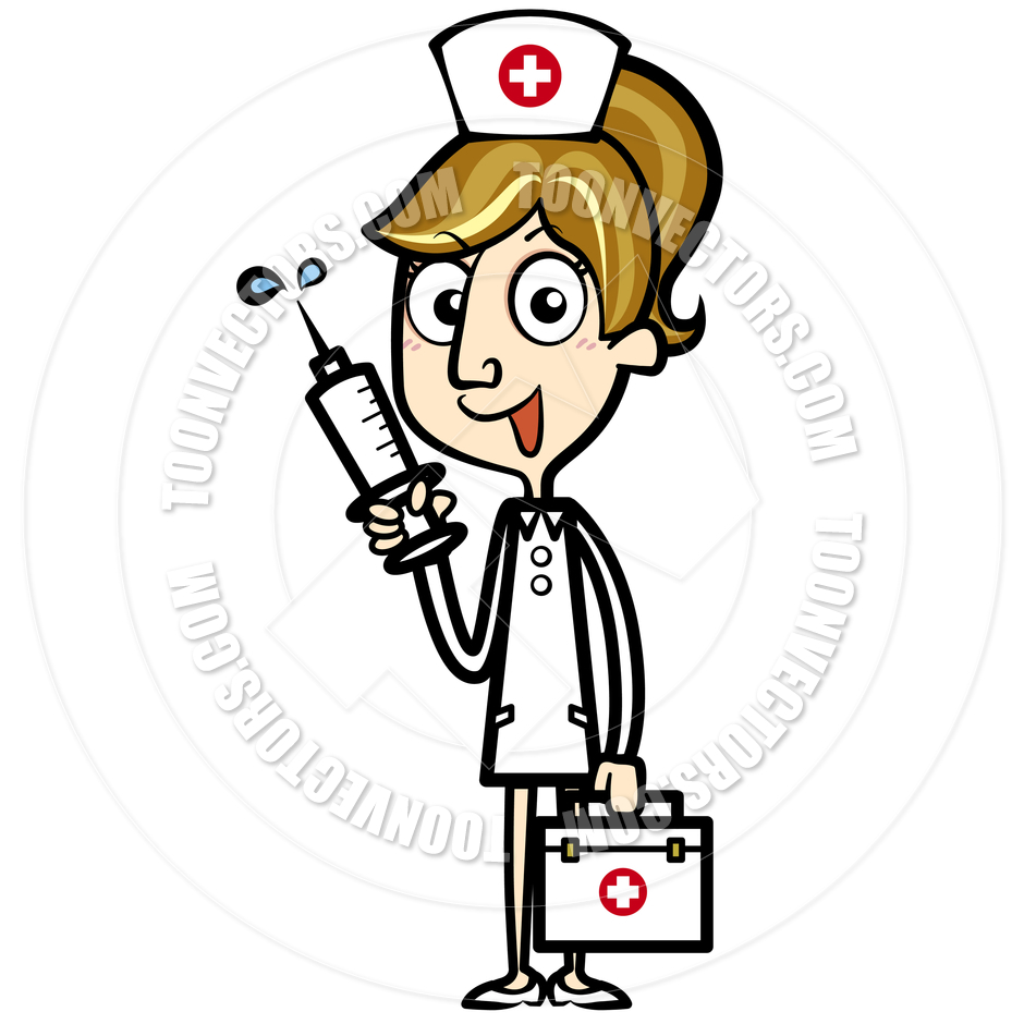 Cartoon Nurse With First Aid Kit And Syringe By Totallypic Com   Toon