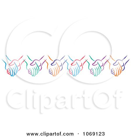 Helping hands border clip art