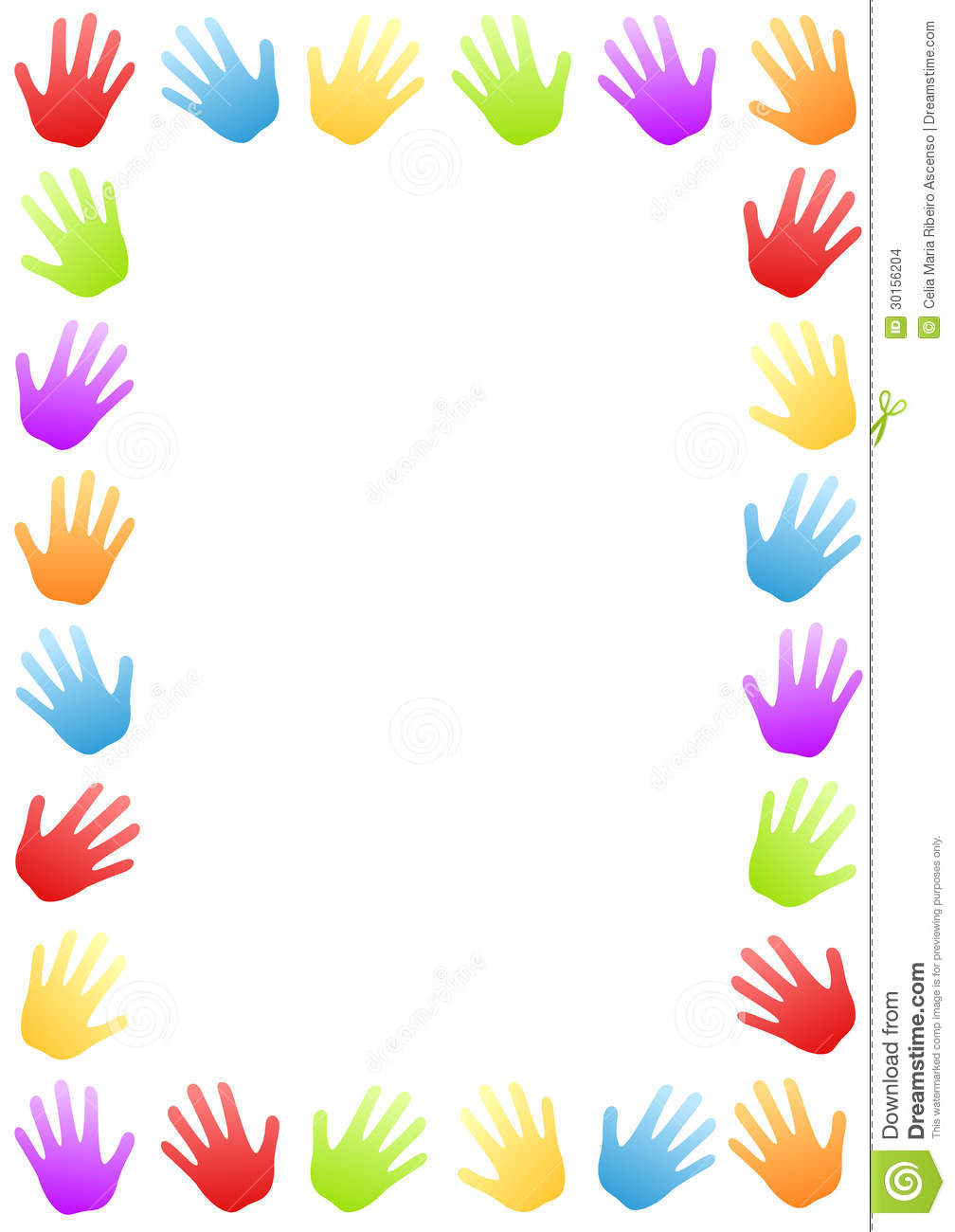 Colored Hands Border Frame Stock Images   Image  30156204