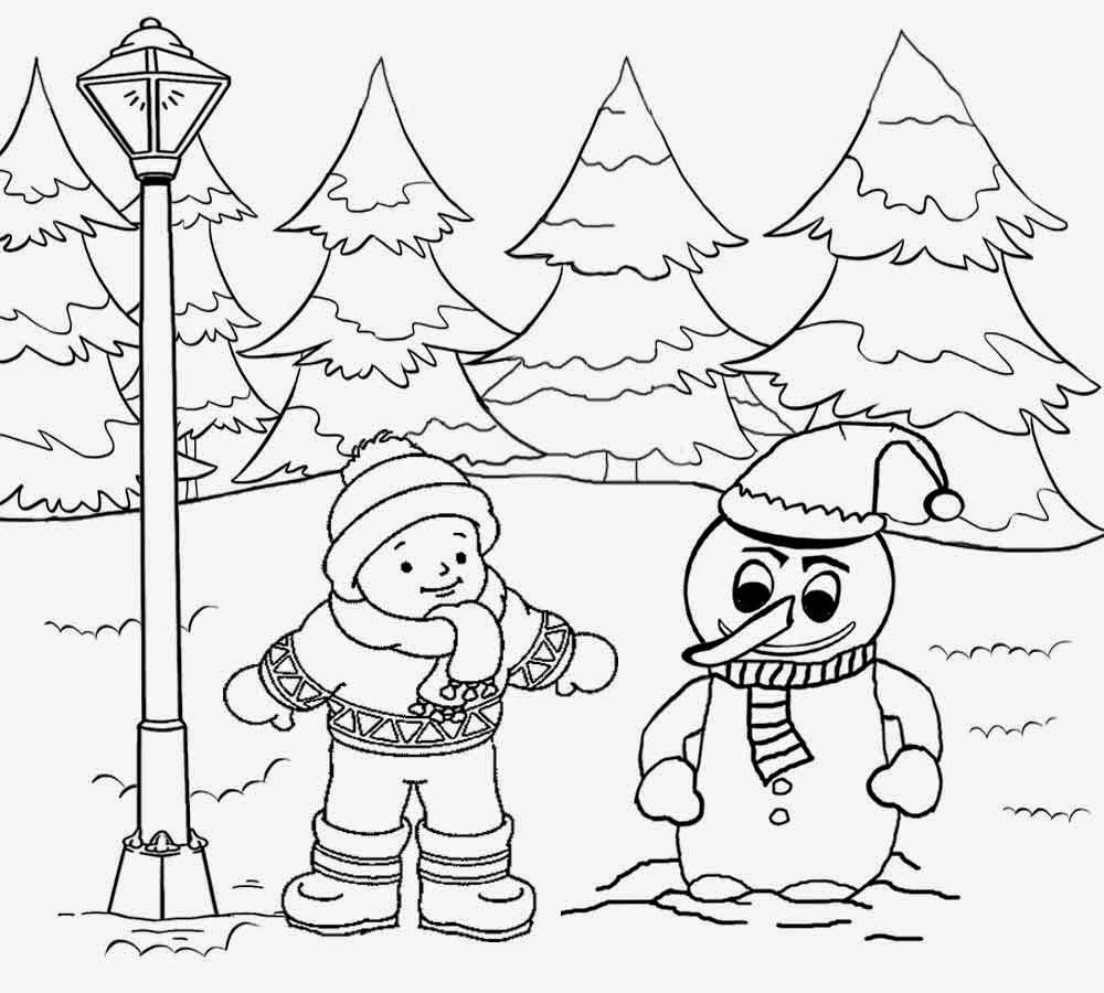 Free Printable Christmas Winter Landscape Coloring Pages For Teenagers