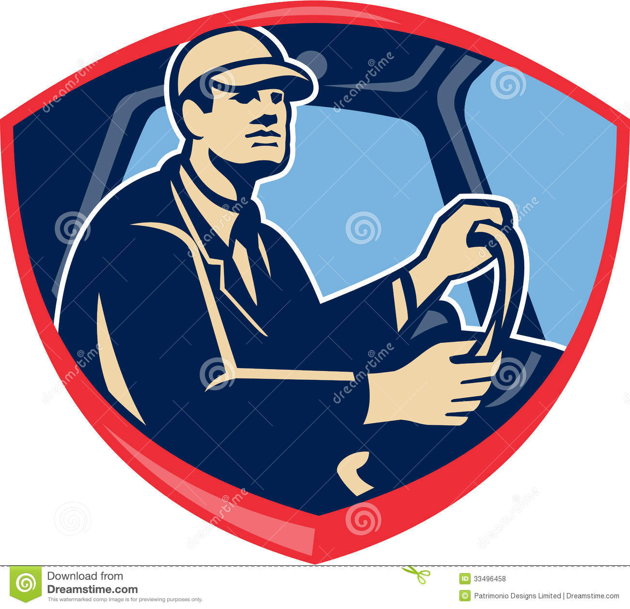 Illustration Of A Bus Or Truck Driver Driver Inside Vehicle Viewed