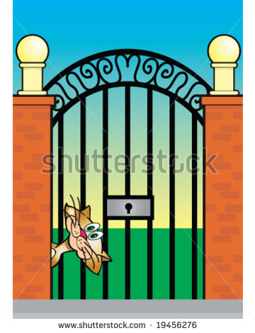 Vector Calico Cat At Gate Entrance Concept Security Or Privacy